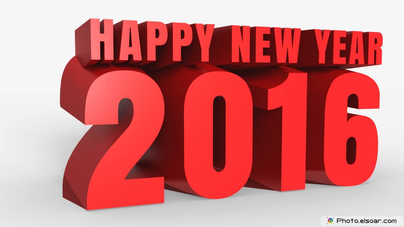 Happy New Year 2016 Wallpaper 3D 1366x768