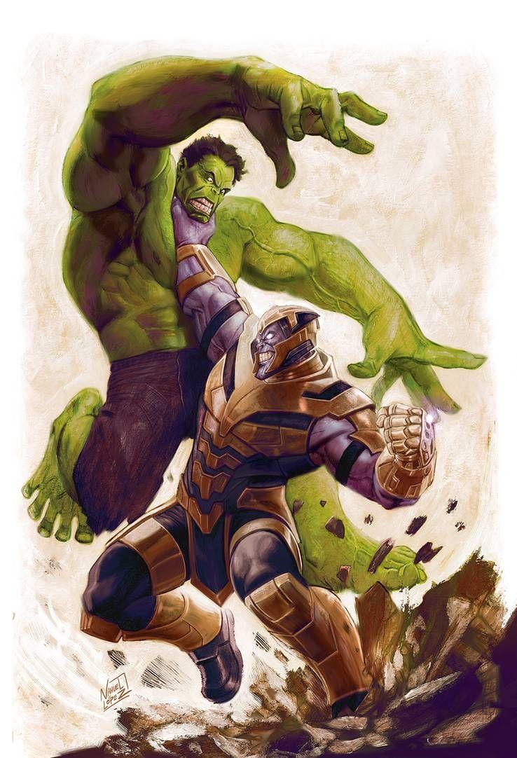 Thanos vs Hulk by Nahuel Lopez Thanos vs hulk 738x1082
