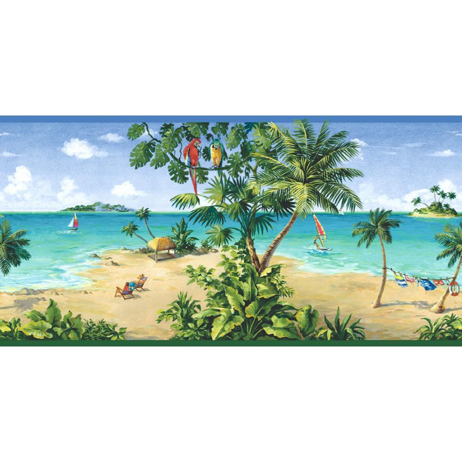 10 14 Tropical Beach Scene Prepasted Wallpaper Border at Lowescom 900x900