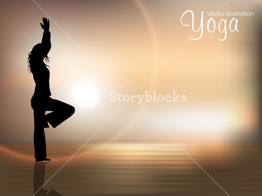 Human Silhouette In Yoga Posture On Nature Background Royalty 1000x750