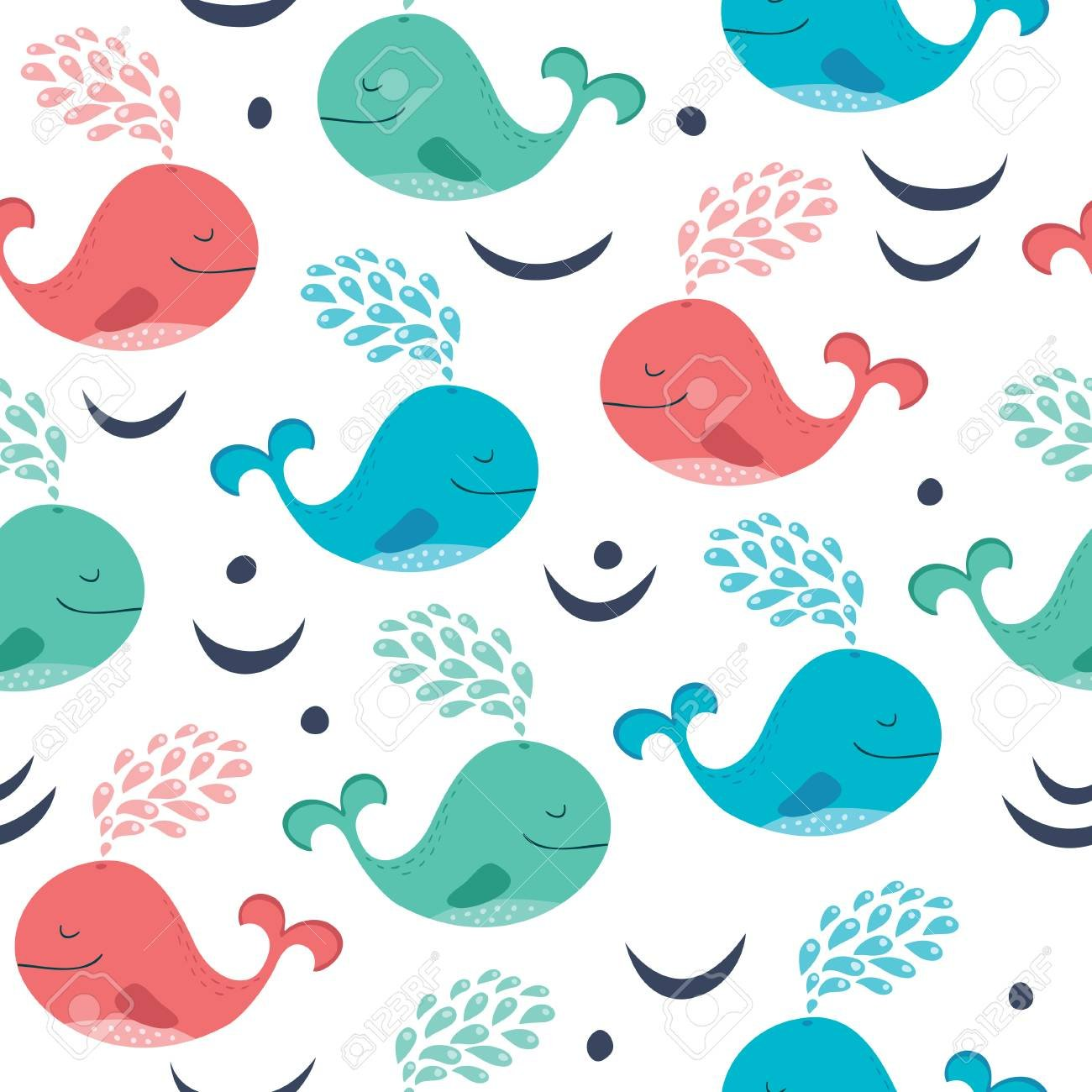 Seamless Background With Cartoon Whales Royalty Cliparts 1300x1300