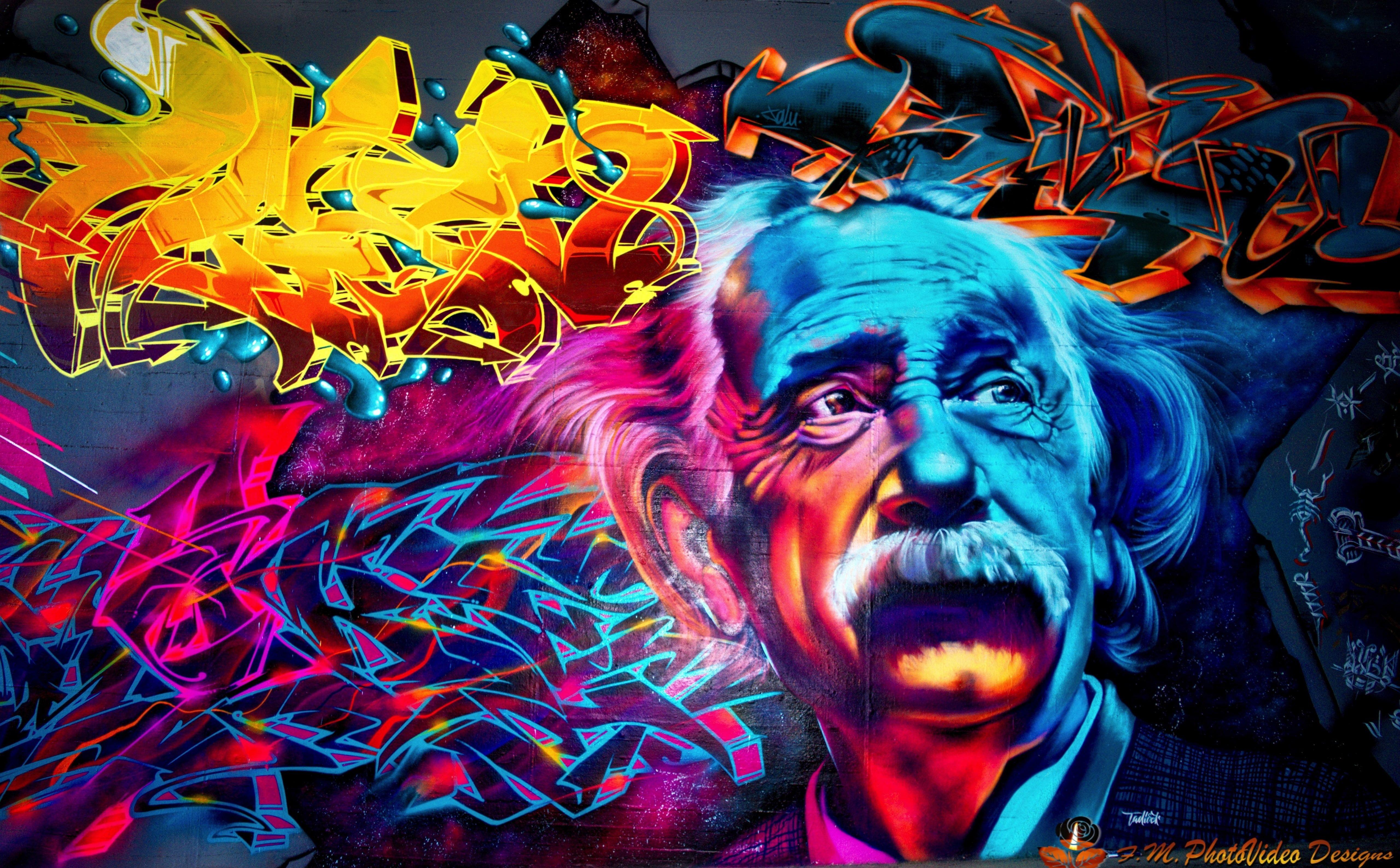 Street Art Albert Einstein abstract wallpaper Artistic Graffiti 5120x3173