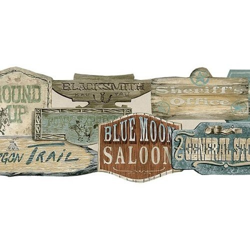 Wallpaper Border Old Wild West Western Store Signs Die Cut 500x500