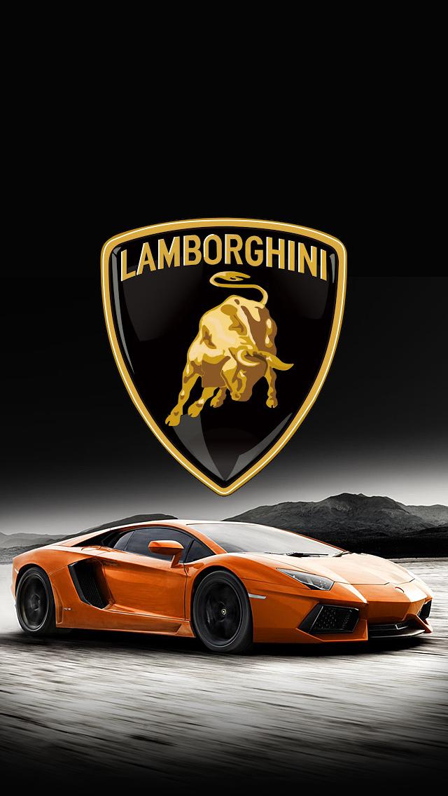 lamborghini car and logo iphone 5 wallpaper 640x1136