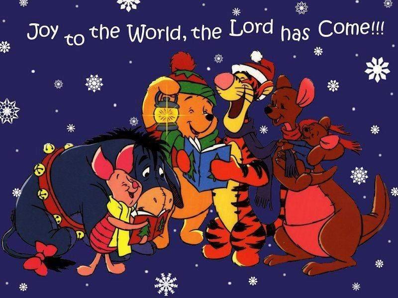 Winnie the Pooh Singing Christmas Carols Wallpaper - Christmas Cartoon