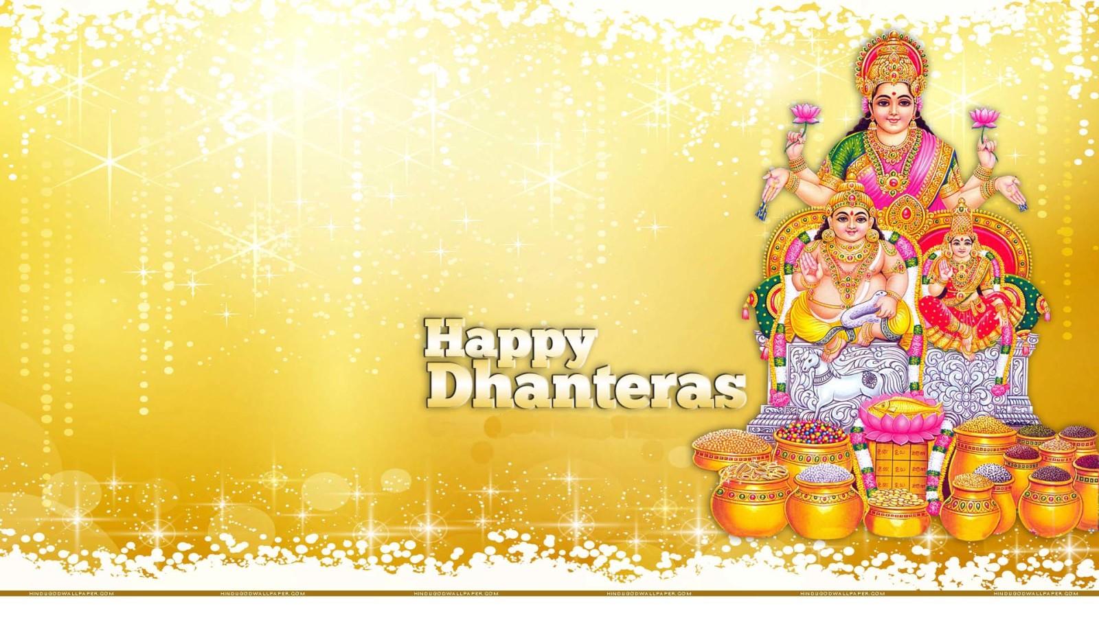 Happy Dhanteras Lakshmi Mata And God Kuber Wallpaper 1600x900