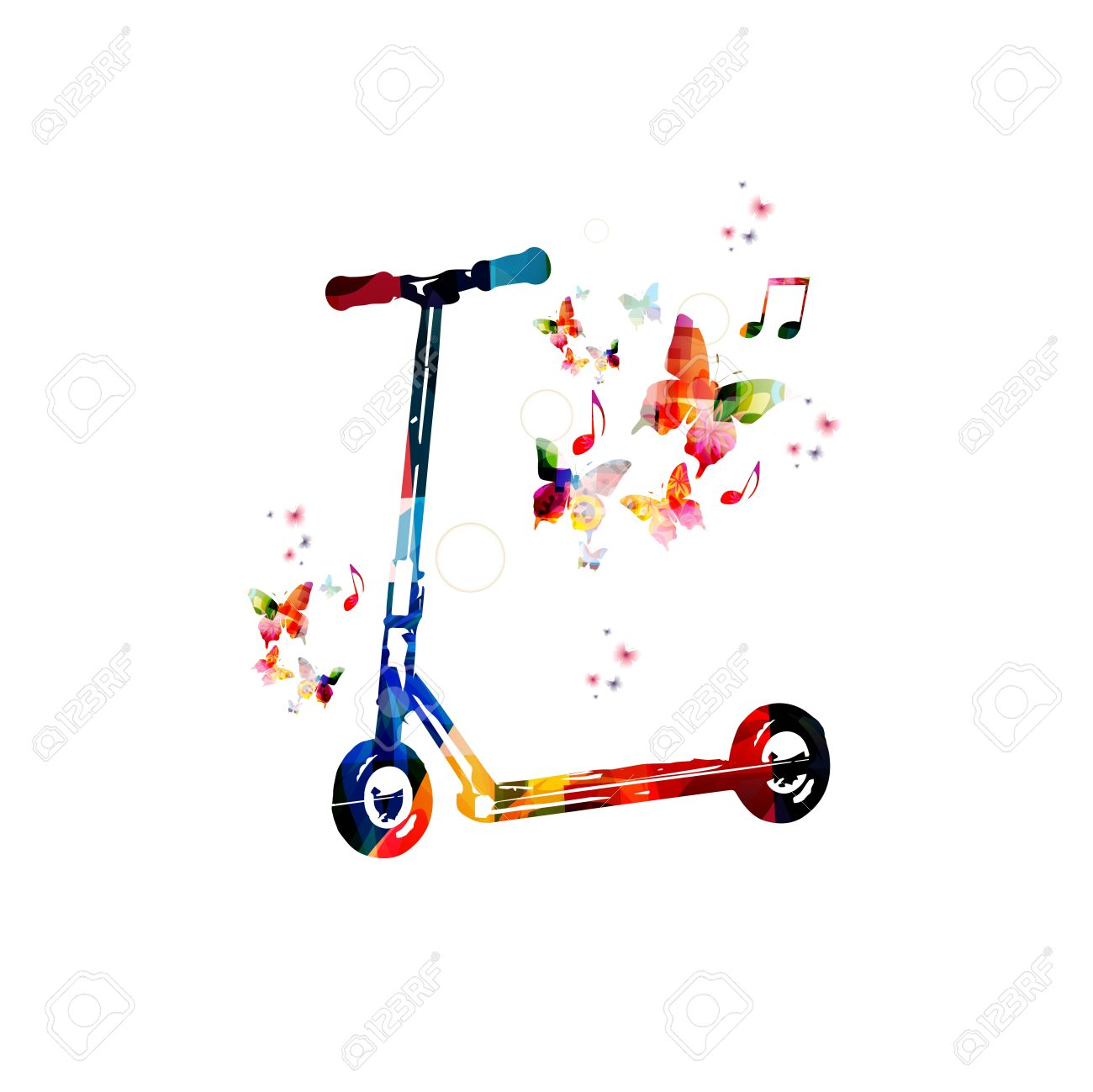 Colorful Vector Kick Scooter Background With Butterflies Royalty 1300x1299