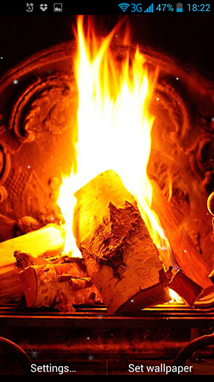 Download live wallpaper Fireplace for 309x550