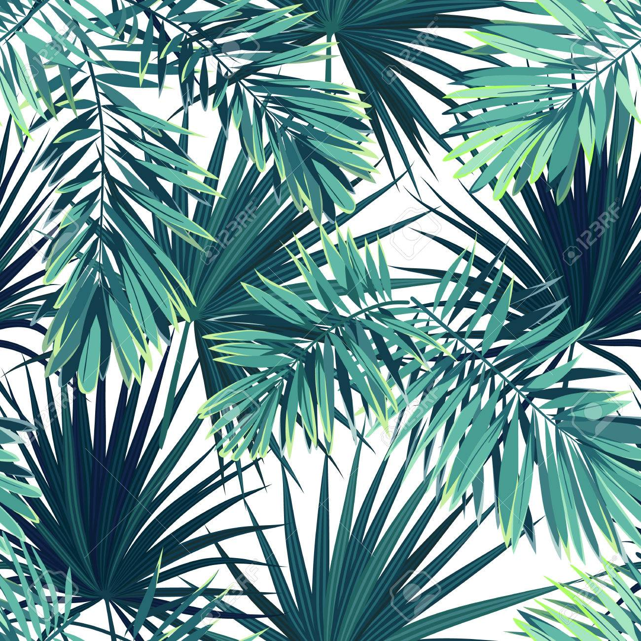 Tropical Background With Jungle Plants Seamless Vector Tropical 1300x1300