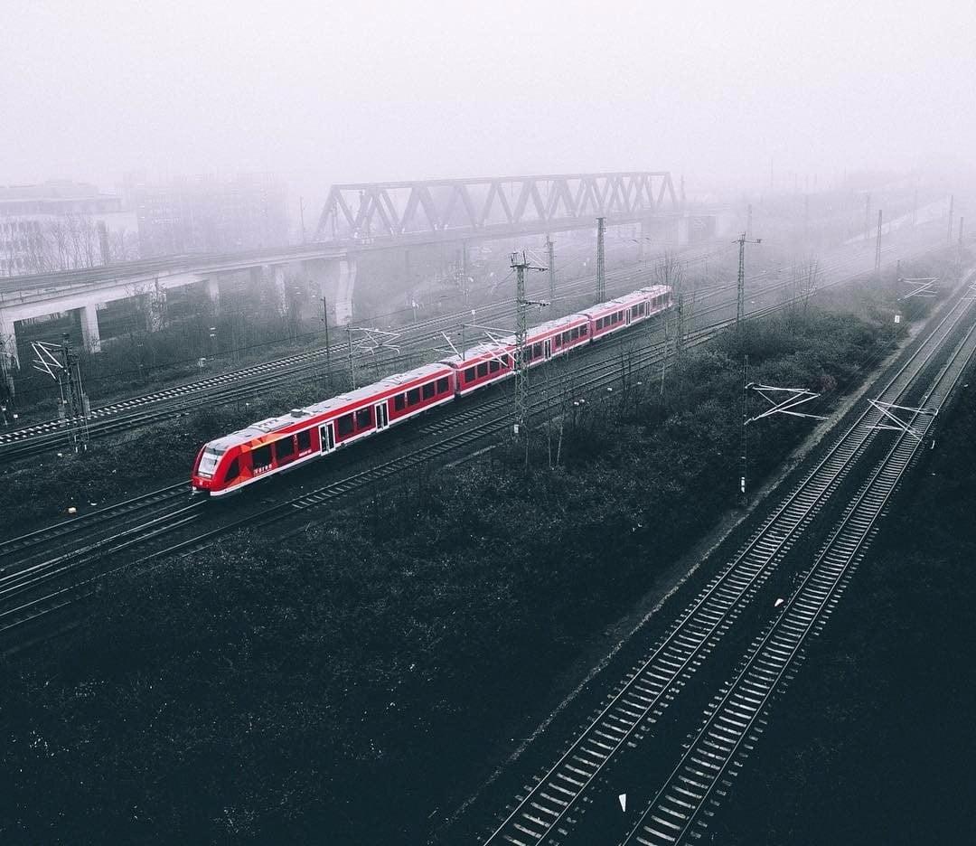 Red train landscape train selective coloring Deutsche Bahn HD 1080x936