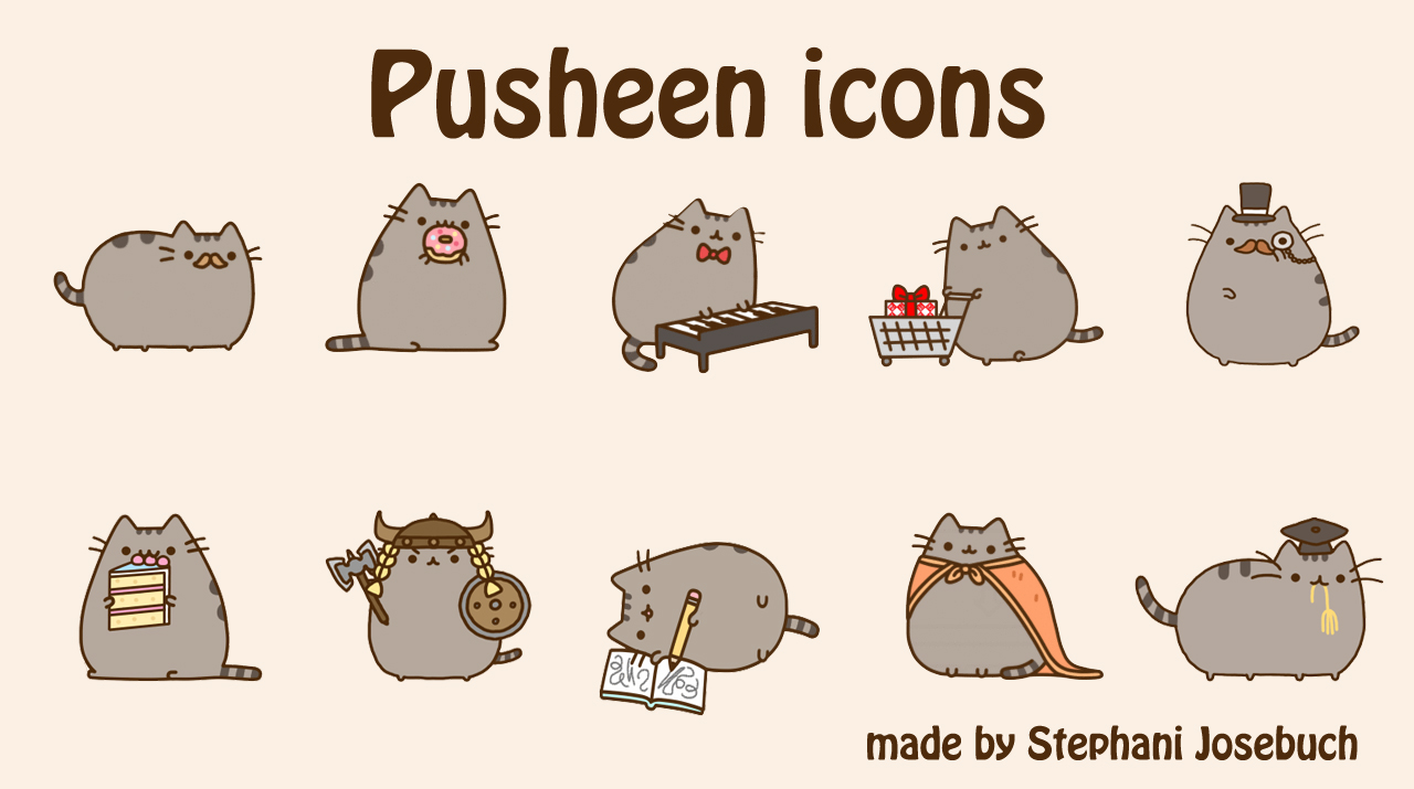 Pusheen icons by Stephani Josebuch 1280x715