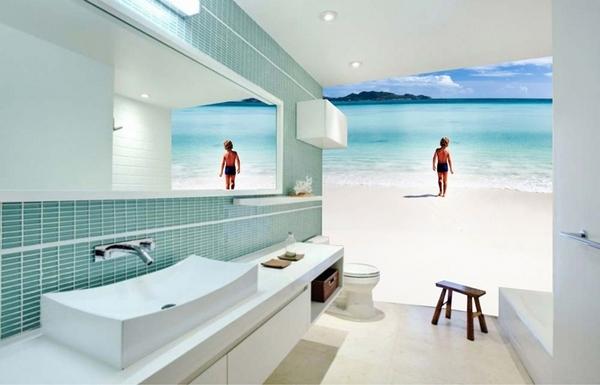 wall mural small bathroom decoration ideas photo wallpaper beach sea 600x385