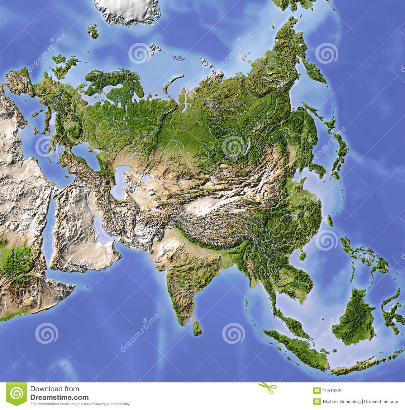 Asia Shaded relief map Colored according to vegetation Includes a 1300x1316