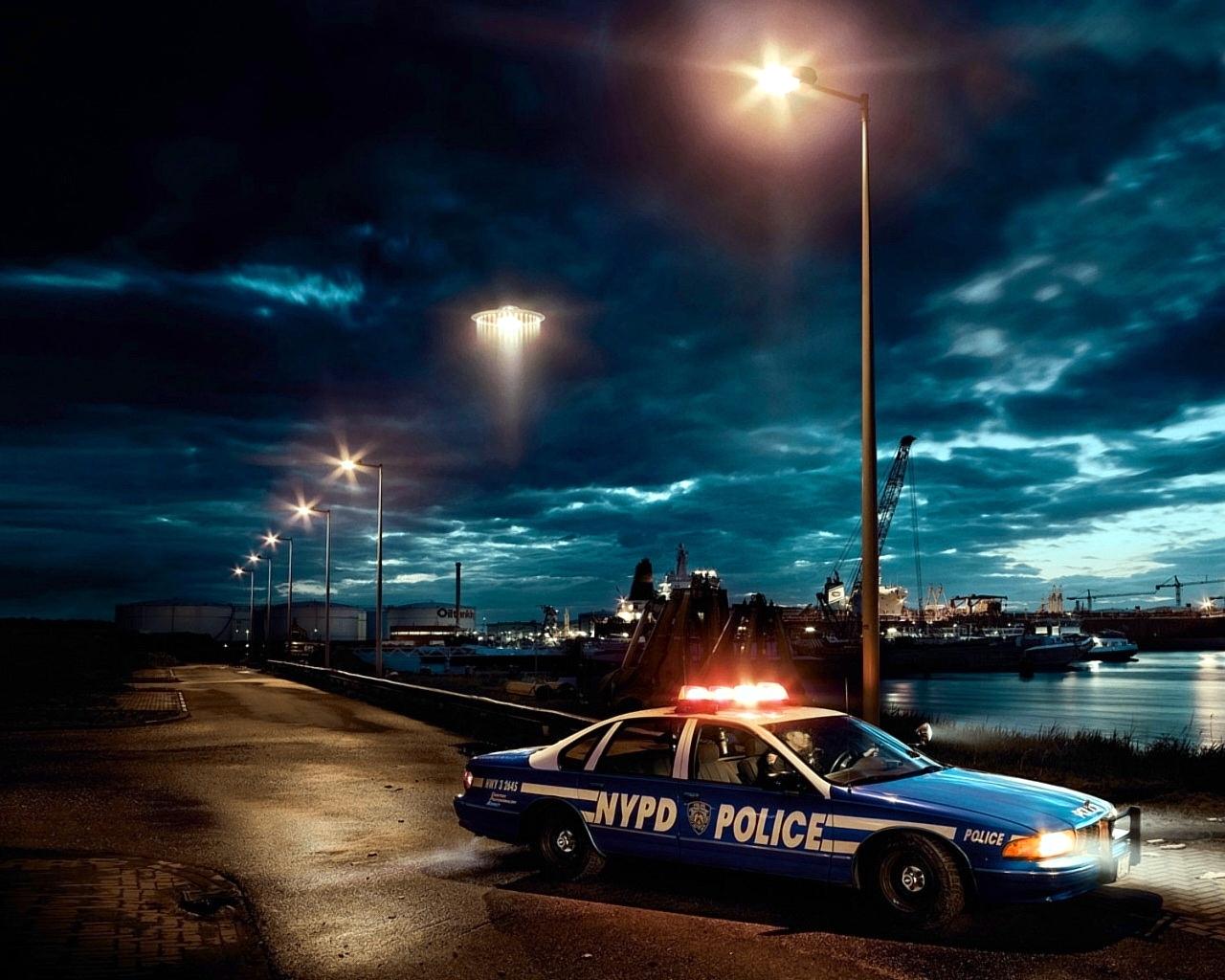 Police Car Wallpaper Police Car at Night 1280x1024