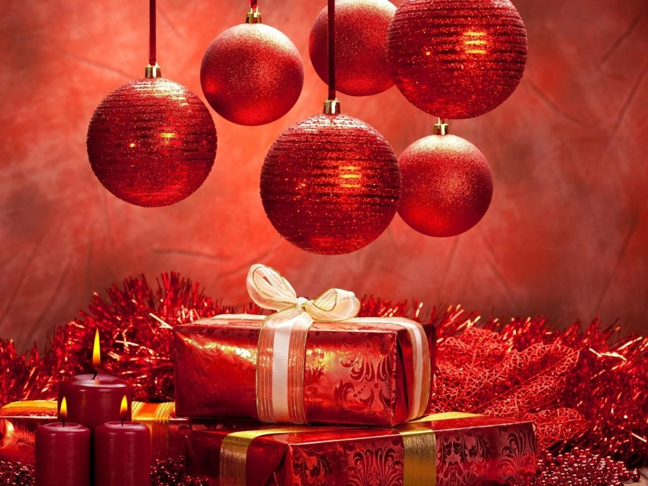 New Year Christmas Decorations Gifts Candles Backgrounds 1280x960
