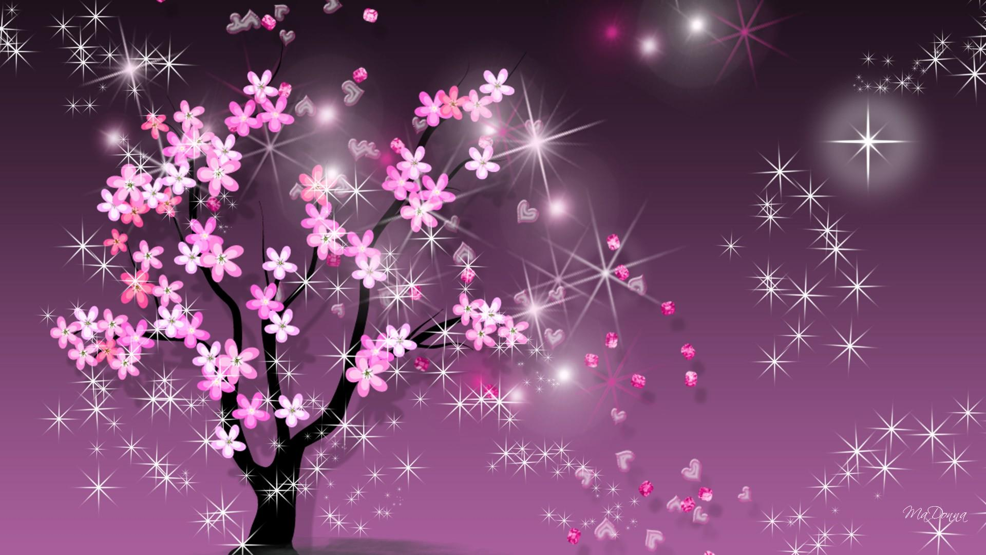Sparkling Purple Sakura Flower Vector Hd Wallpaper Wallpaper List 1920x1080