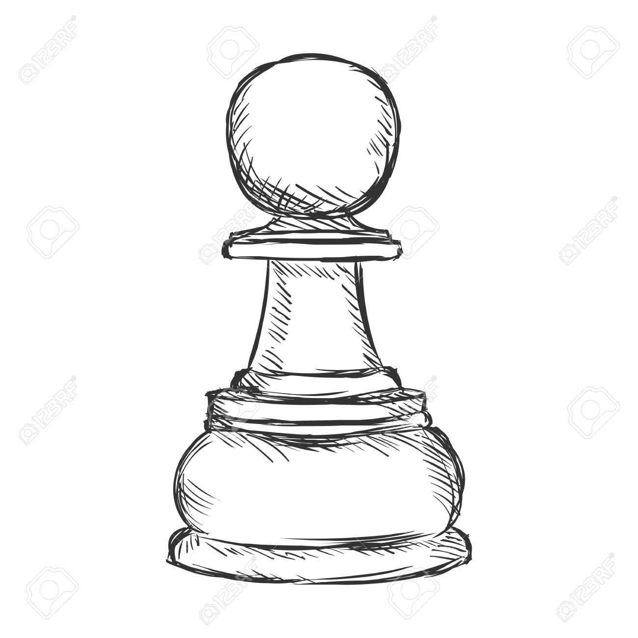 Vector Single Sketch Chess Figure   Pawn On White Background 1300x1300