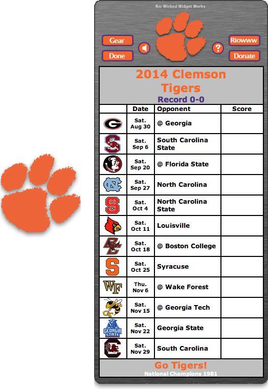 2014 Clemson Tigers Football Schedule Widget   Go Tigers 524x760
