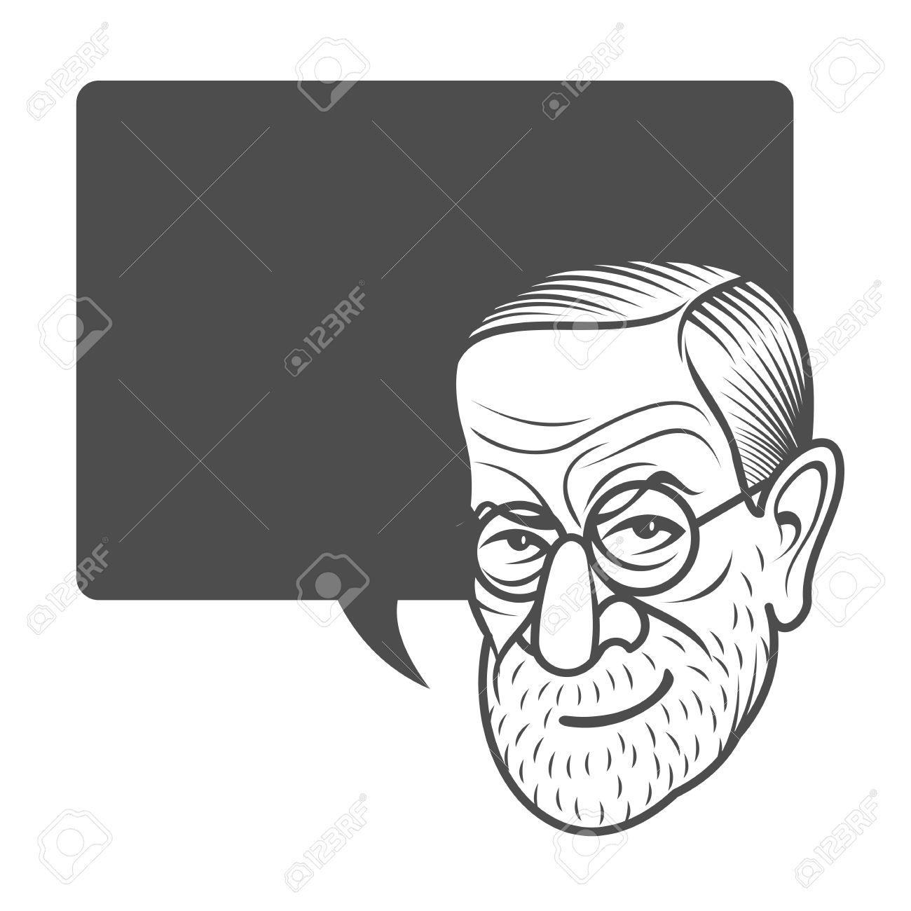 Vector Cartoon Caricature Portrait Of Sigmund Freud Vector 1300x1300