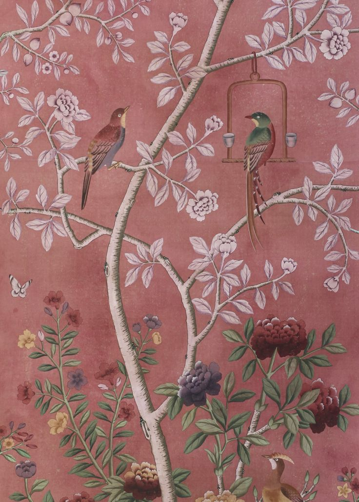 Chinoiserie wallpaper   Pink hand painted Pink Hands Hands Painting 736x1030