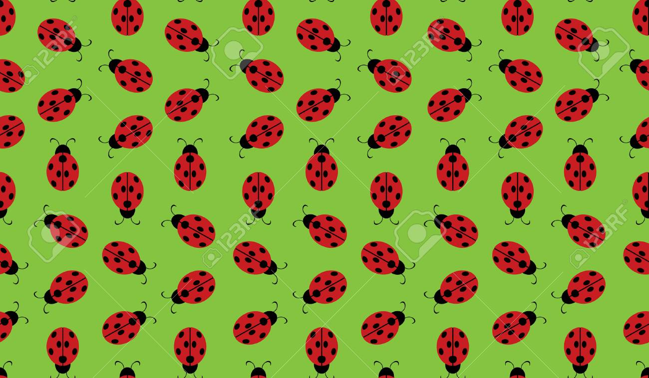 Ladybug Wallpaper Pattern Royalty Cliparts Vectors And 1300x758