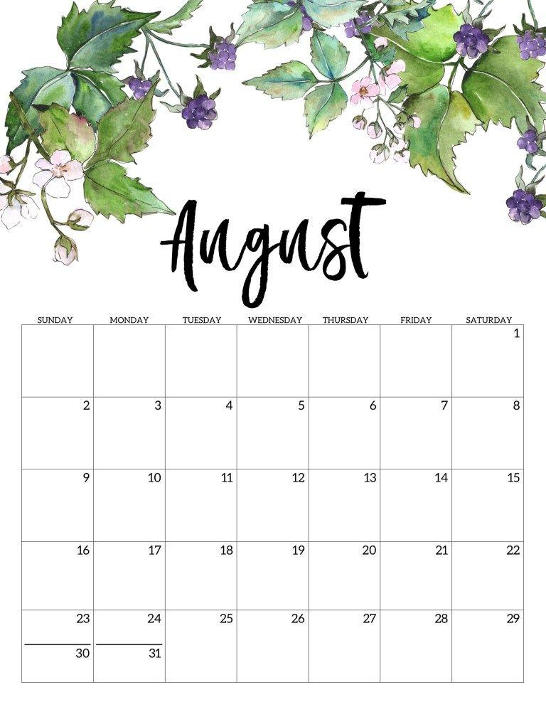 2020 Printable Calendar   Floral printable calendar 768x994
