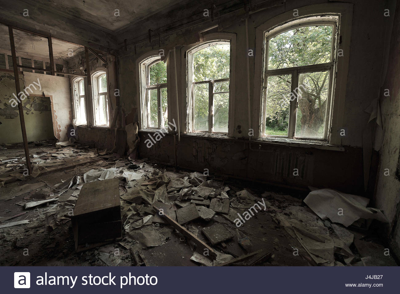 Large destroyed hall in a kindergarten in Chernobyl garbage on 1300x955