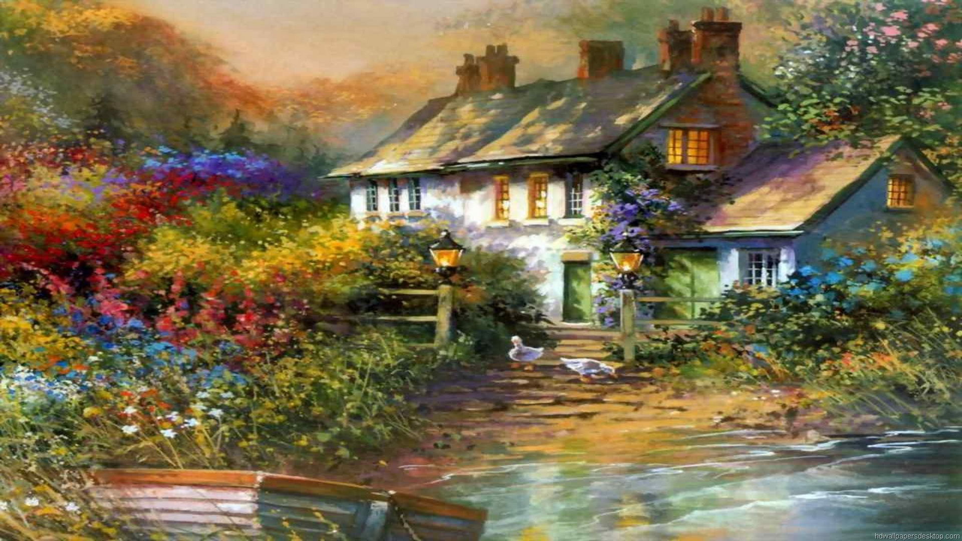 Thomas kinkade fall desktop wallpaper wallpapersafari for Home painting images