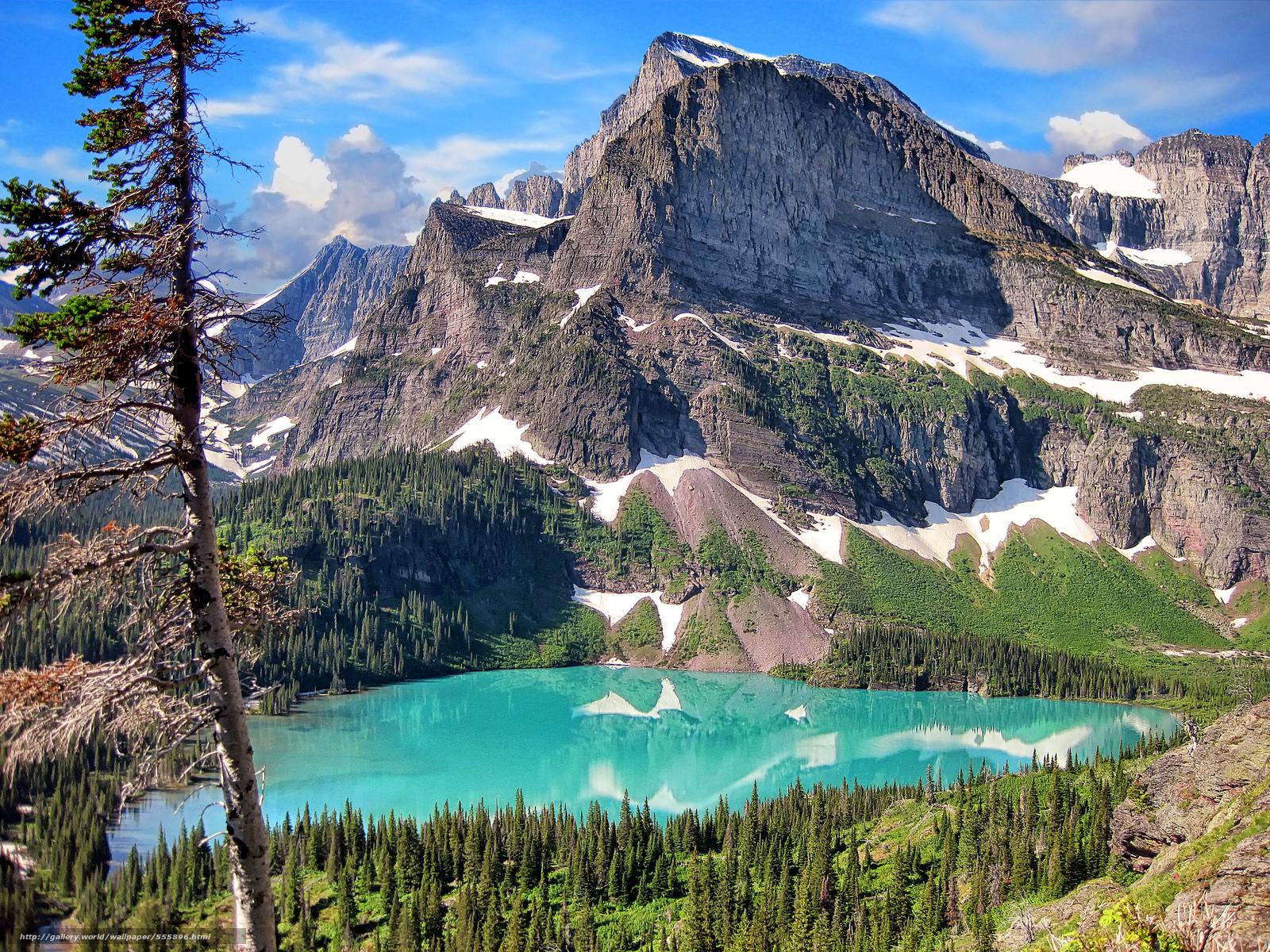 Download wallpaper Glacier National Park Mountains lake landscape 1600x1200