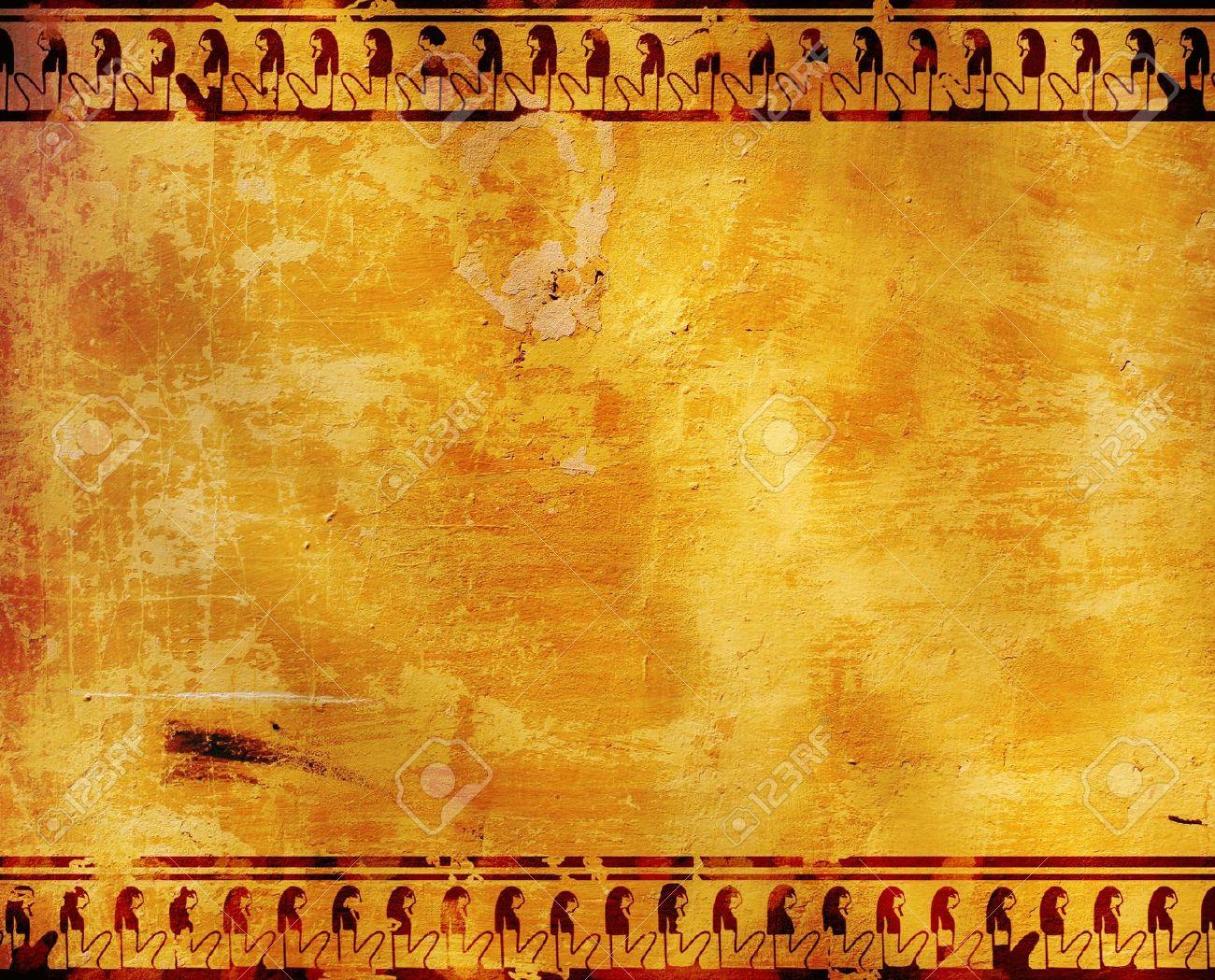 Background With Egyptian Symbols Stucco Texture Stock Photo 1300x1049