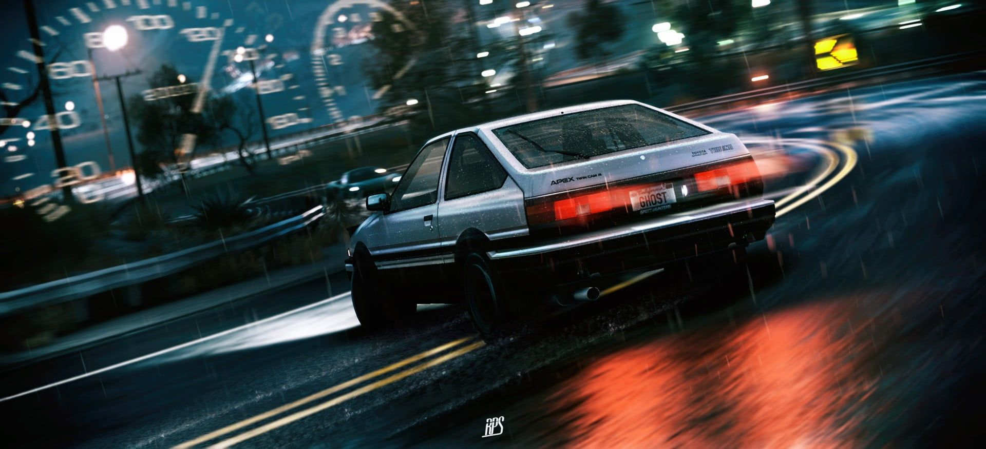 silver coupe car Initial D drift Toyota AE86 Toyota Sprinter 1920x876