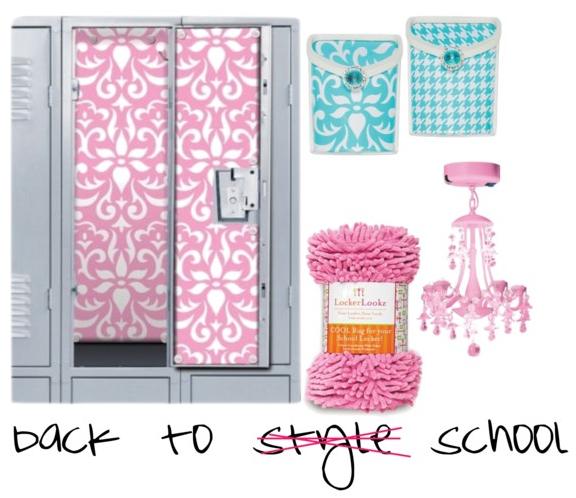 /White Locker Bins / Pink Shaggy Locker Rug / Pink Locker Chandelier