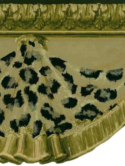 The Wallpaper Company 8 in x 10 in Brown Leopard Curtain Border Sample 480x640