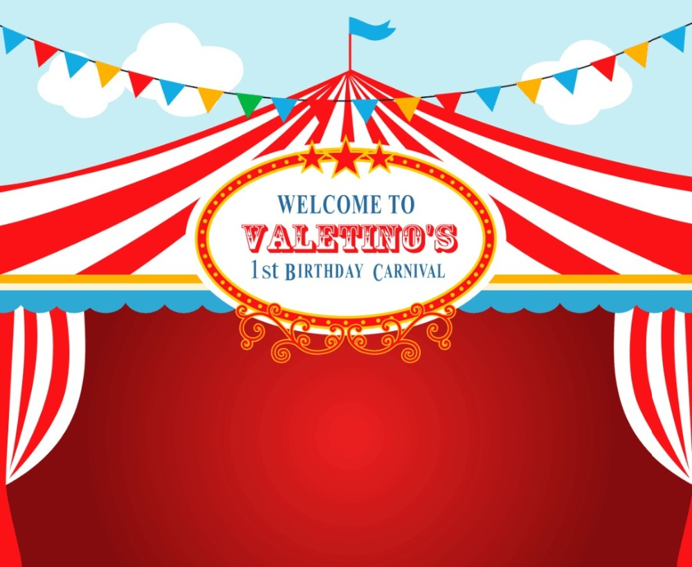 custom Circus First Birthday Carnival Flag backgrounds High 1000x820