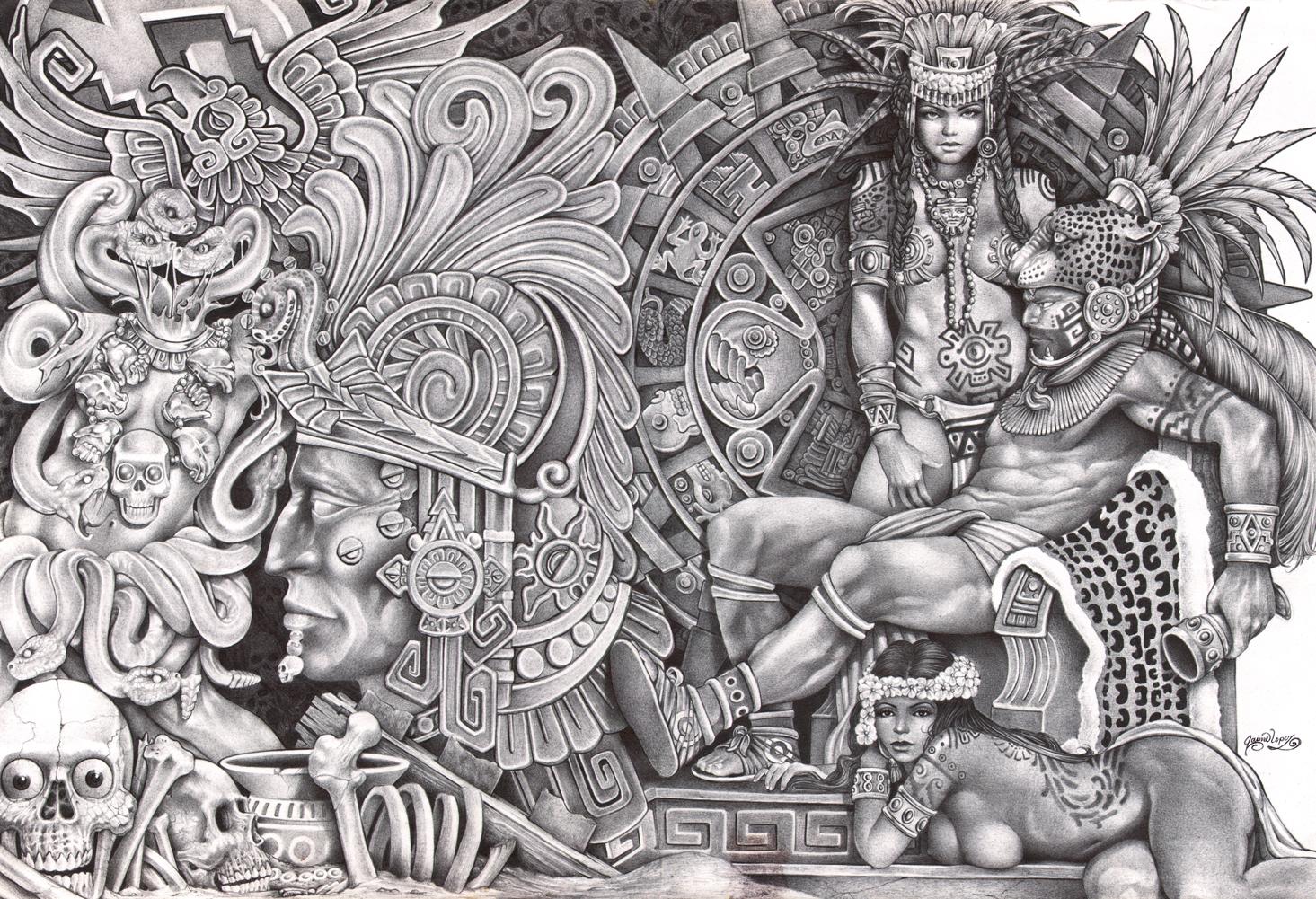 Aztec Dream by Mouse Lopez Mexican Indians Black White Canvas Art 1465x1001
