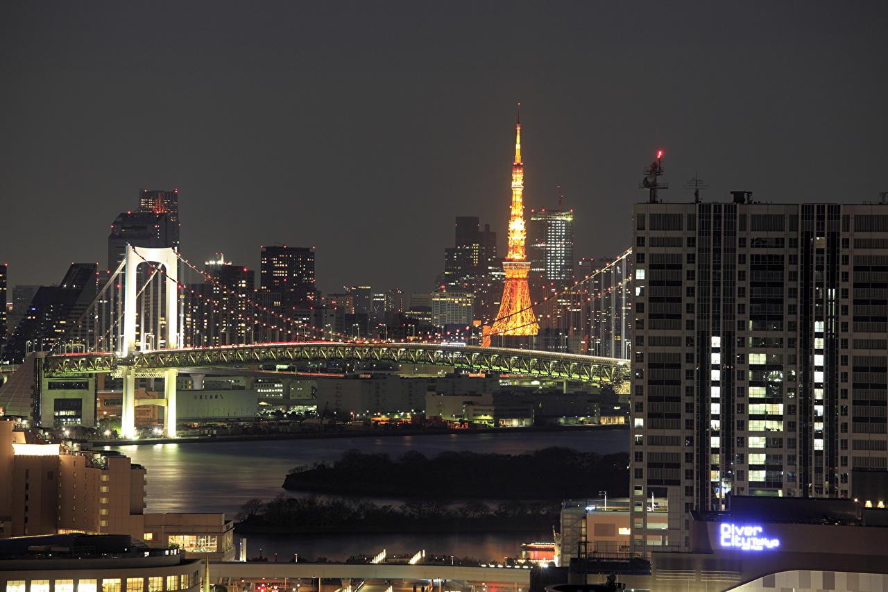 Image Tokyo Japan Odaiba Bridges night time Cities Building 1280x853