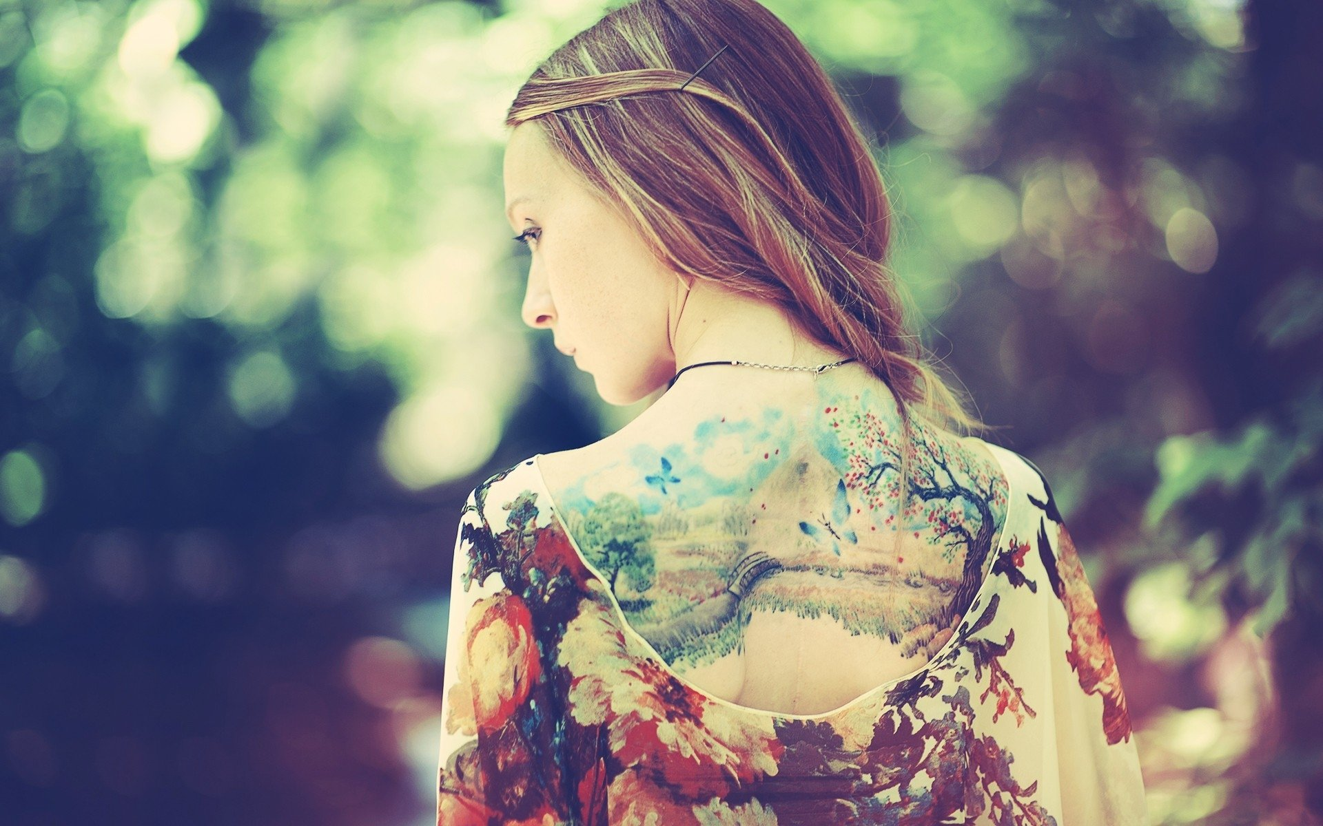 Wallpapers Girl Back Dress Tattoos Nature Background Style Fashion 1920x1200