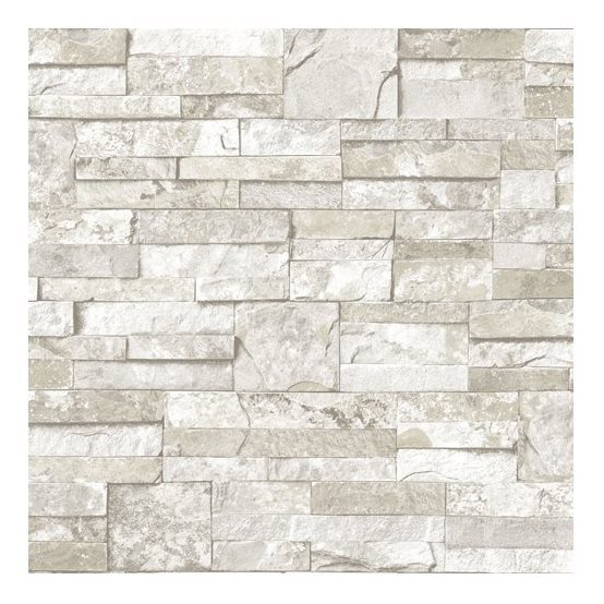 Blue Mountain Mini Ledgestone White Peelable Vinyl Prepasted Wallpaper 554x554