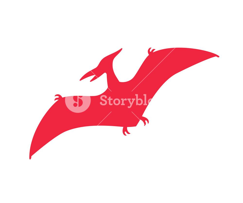 Pterodactyl vector silhouette Pteranodon dinosaur Pterosaur red 1000x834