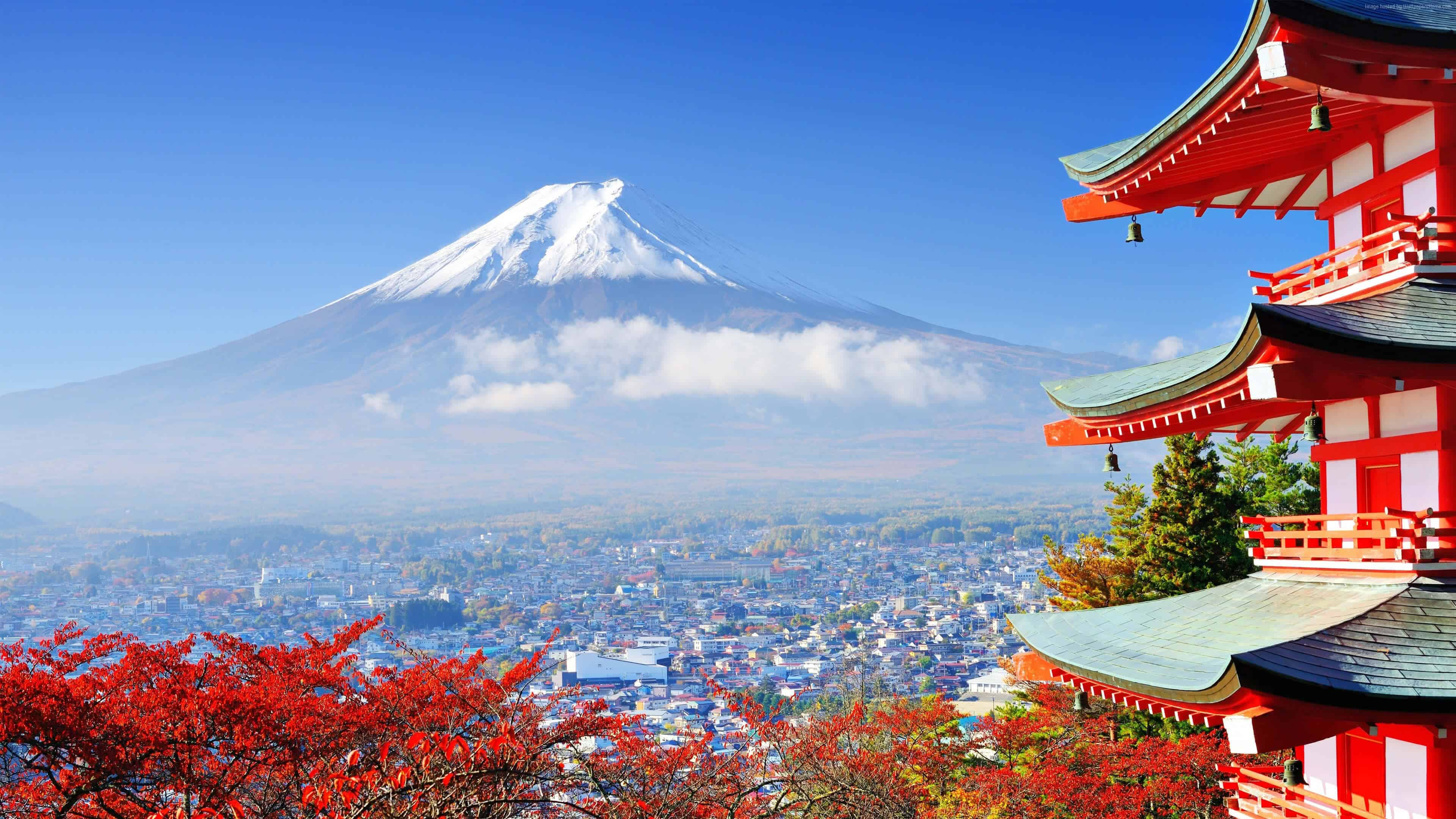 View Of Mount Fuji From A Red Pagoda Tokyo UHD 4K Wallpaper Pixelz 3840x2160