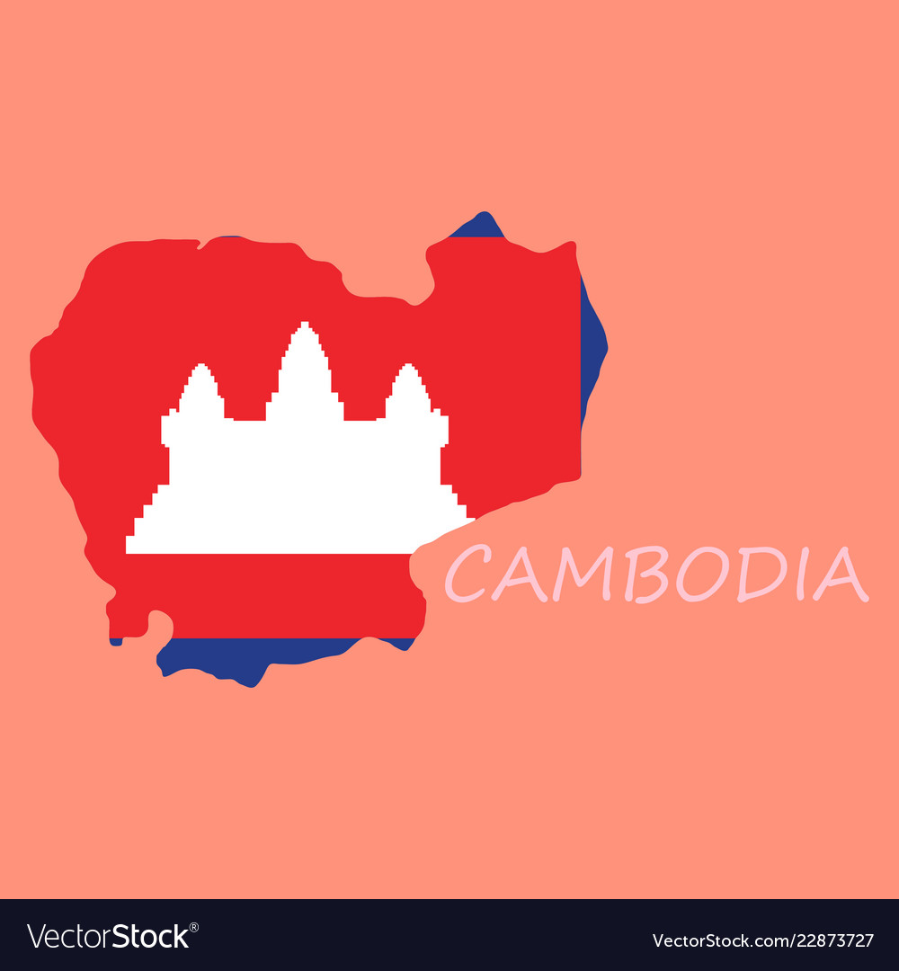 Cambodia map and flag in white background Vector Image 1000x1080