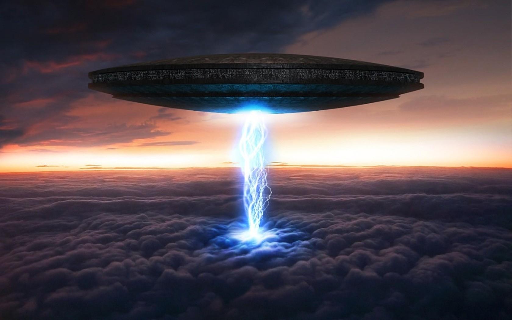 ufo spaceship spacecraft sky clouds art invasion sunset wallpaper 1680x1050