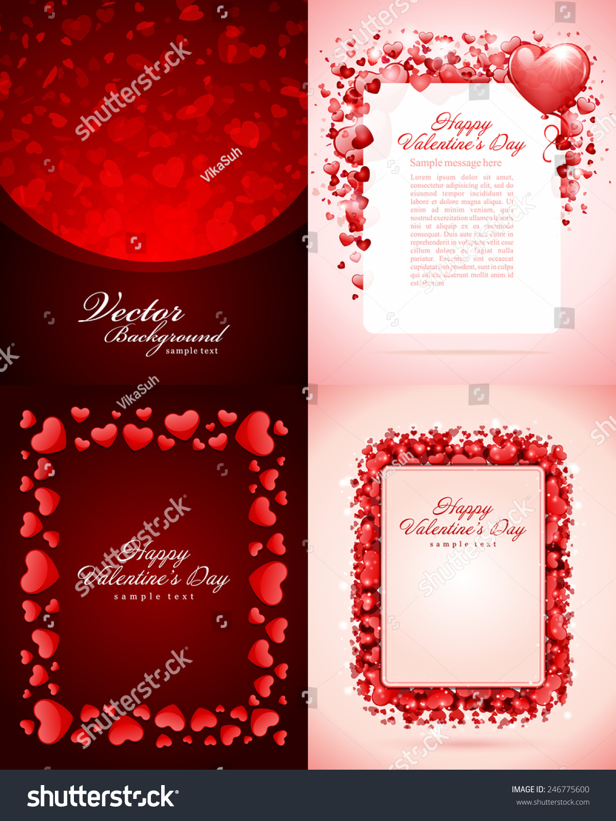 Set Happy Valentines Day Backgrounds Hearts Stock Vector Royalty 1200x1600