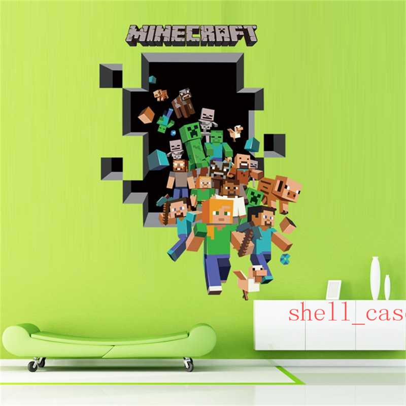 3D Minecraft through Wall Stickers Creeper Decorative Steve Dig Wall 800x800