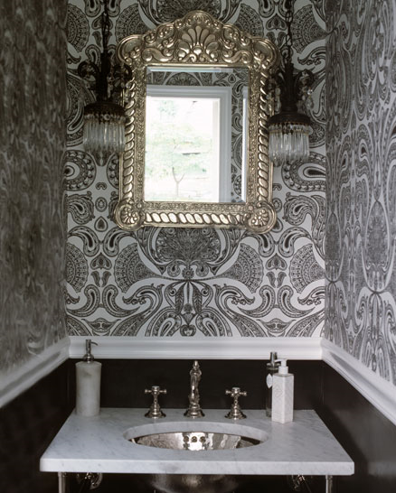 black and white bathroom wallpaper 2015   Grasscloth Wallpaper 438x546