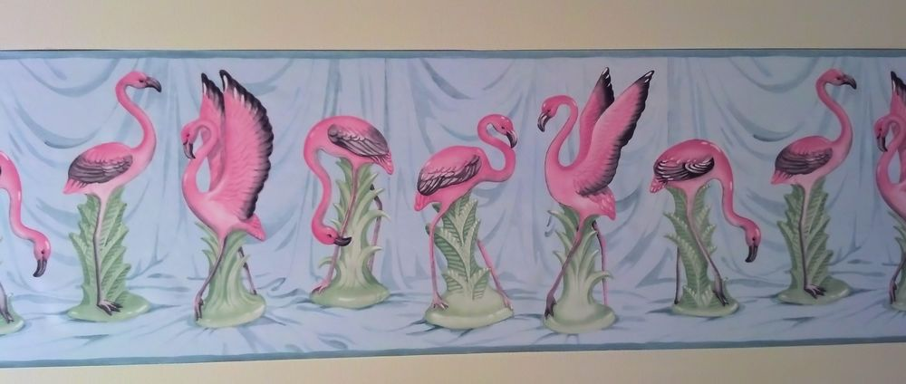 Pink Flamingos Tropical Bathroom Sunroom Wallpaper Border Shipping 1000x424