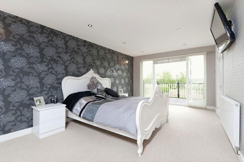 black grey silver white metallic bedroom with feature wall wallpaper 800x533