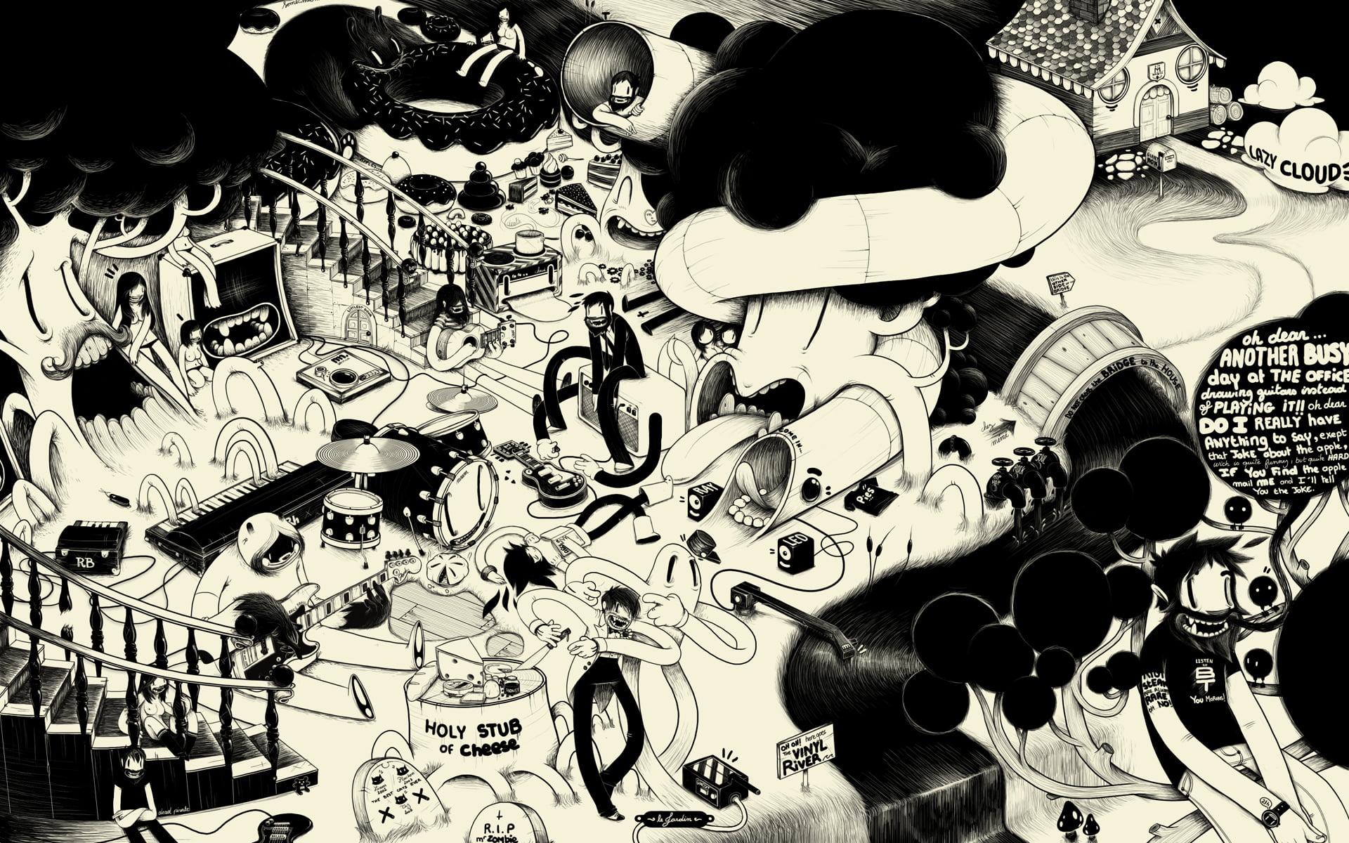 Doodle illustration McBess monochrome psychedelic artwork HD 1920x1200