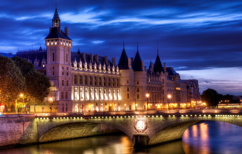 Wallpaper light bridge the city river castle France Paris 1332x850