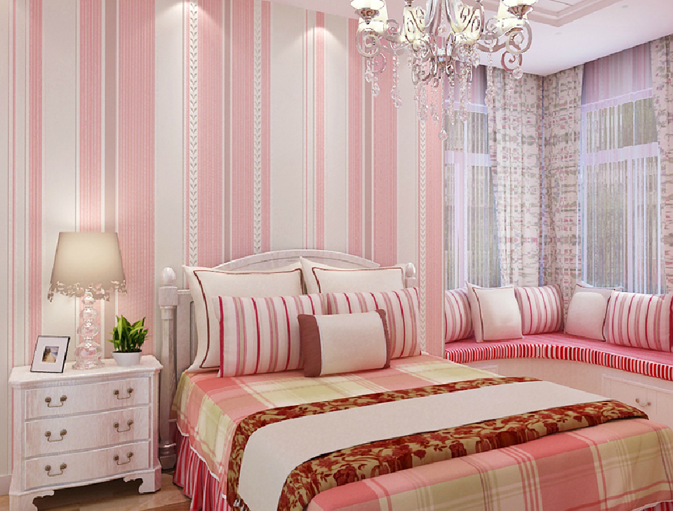 Non woven pink vertical stripes wallpaper for girls bedroom 959x728